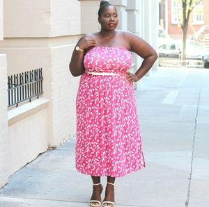 Lane Bryant Pink Lead Print Sleeveless Maxi Dress